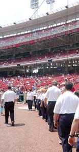 Circle Singers file into Great American Ballpark to sing National Anthem